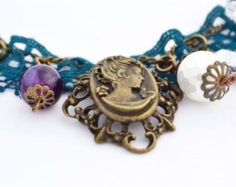 Victorian style charm bracelet, vintage inspired charm bracelet with lace and gemstone beads