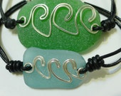 RESERVED for Tami LoBasso - Aqua Waves Seaglass Bracelets