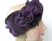 Polar Fleece Flapper Headband with Rose - Purple - Maddy