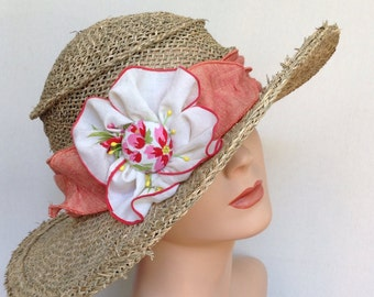 Ladies Straw Sun Hat - Sun Hat - Travel Hat -Seagrass, Linen and Vintage Hanky-'Suitcase Sarah