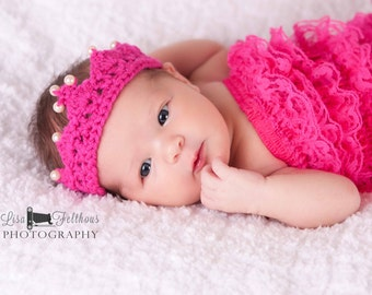 Crochet baby crown, Twin girl first birthday Twins photography prop Baby girl tiara, First birthday princess  crown