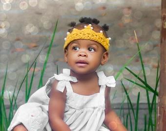 Crochet baby crown, Baby girl tiara, Photo prop First birthday princess crown, First Birthday tiara