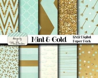 Mint & Gold Digital Paper Pack - 12x12  -Mint, Cream, Gold, Metallic- Digital Scrapbooking Paper  INSTANT DOWNLOAD