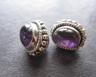 Amethyst and Sterling Silver Set beads - matching pair - semiprecious stone