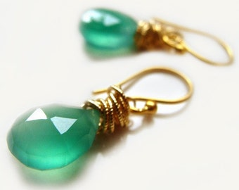 Tidal Earrings with Green Onyx Handmade Gold Green Fall Fashion