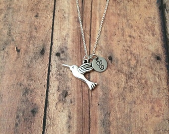 Hummingbird initial necklace - hummingbird jewelry, gift for bird watcher, spring jewelry, bird jewelry, silver hummingbird necklace