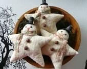 Primitive Snowman ornie tuck bowl filler star