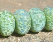 Opalescent Sage (6) Handmade Lampwork Boro Beads