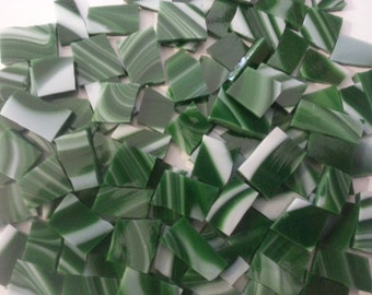Mosaic Tiles Dark Green CANDY CANE STRIPPED Nice Sizes 100 pcs Stained Glass Mosaic Tile