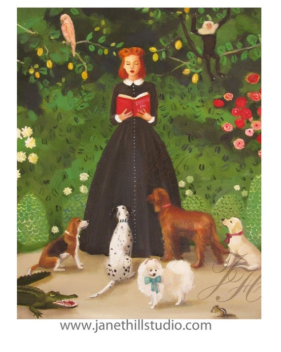 Miss Moon Was A Dog Governess- Lesson One:  Be Kind To The Wildlife And They May Return The Favour One Day. Art Print