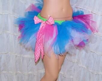 BONANZA Turquoise Blue Pink Polka Dot Bow Trashy Ragged TuTu Skirt Adult Small - MTCoffinz - Ready to ship