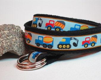 Truck Boys Belt / Toddler Belt / Canvas Belt / Little Boy D-ring Belt / Ribbon Belt / Baby Belt - Construction Zone