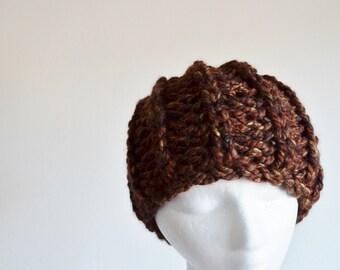 Handknit Hat, Chunky Knit Hat, Navigator Hat, Women's Fashion Knit Hat. Acorns & Chestnuts. Brown Multi.