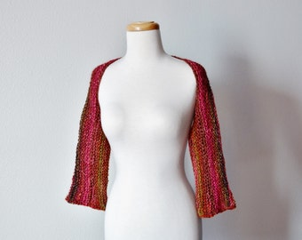 Hand Knit Women's Shrug in Red, Gold, And Autumn Colors - FEUILLE Shrug - Handknit, Luxury Yarn, Garter Stitch Textured Knit Shrug / Sleeves