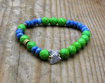 Blue Green Modern Beaded Bracelet, Pyrite Denim Blue Butterfly Stretch Bracelet, Bright, Mixed Metals, for Her Under 75