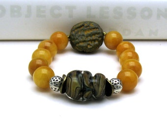 Mustard Murano Glass Luxe Boho Beaded Bracelet, Boutique Wearable Art, Collectible 2 Bracelets in One, For Her Under 250