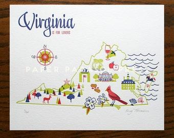 Virginia State Letterpress Print 8x10