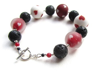 CLEARANCE Cute Heart Lampwork Beaded Bracelet with Black Lava Stone Beads and a Silver Toggle
