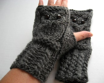 Owl Fingerless Gloves Mittens - Merino Wool Chunky - Charcoal Gray - READY TO SHIP