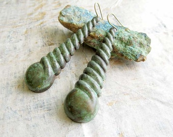 Long Bohemian earrings Verdigris Patina earrings Boho dangle earrings Bohemian jewelry
