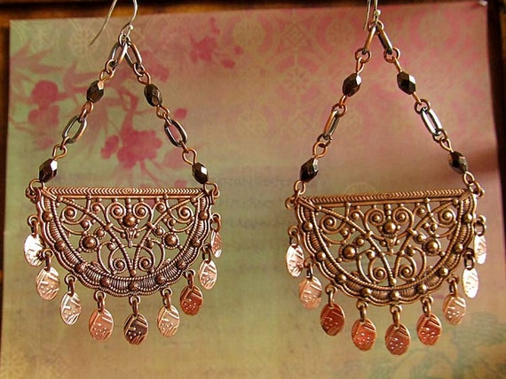 Copper Chandelier earrings Gypsy Moon earrings rose gold cresent long earrings Bohemian Jewelry