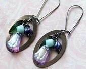 Spring Tulip Earrings, Pink Purple Earrings, Spring Floral Earrings, Oval Earrings, Czech Glass Flowers, Flower Earrings, Gift for her SRAJD