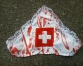 blood splattered ZOMBIE nurse sexy costume blood splatter lace edge HAT halloween horror