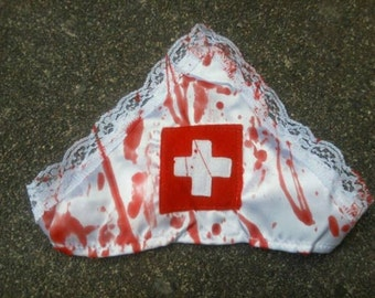 blood splattered ZOMBIE nurse sexy costume blood splatter lace edge HAT halloween horror
