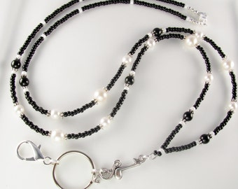 SWEET MUSIC Black and White Glass Pearls Lanyard ID Badge Holder