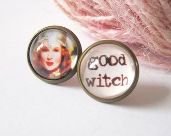 Glinda Good Witch Mismatched Antique Brass Post Earrings