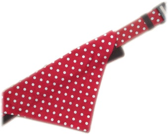 Red And White Polka Dot Bandana And Collar Set For Cats And Dogs