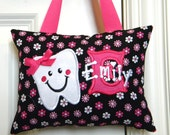 Tooth Fairy Pillow - Black with Pink and White Flowers
