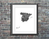Spain typography map art ...