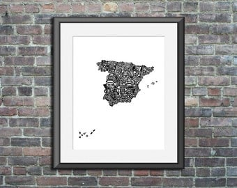 Spain typography map art print 8x10 - customizable country poster custom wedding engagement graduation gift anniversary wall art decor