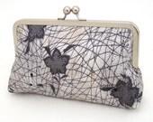 Clutch purse, silk bag, flower stencil, seedhead, brown, ivory, stencil bloom, ON SALE