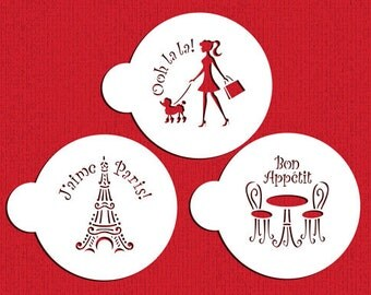 I Love Paris Cookie Stencil Set - for Cupcakes & Cakes - Designer Stencils (C882) Shopping, Walking Dog, Shopper, Eiffel Tower, Cafe Table