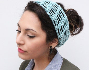 LAST ONE headband chunky summer turban vegan lace crochet robin egg blue