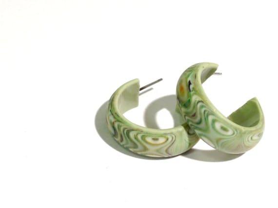 Light Green Hoop Earrings | Sage Green Snakeskin Marbled Simple Hoops |  Vintage Lucite Hoop Earrings