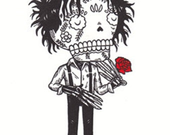 Calavera Scissorhands Limited Edition Gocco Screenprint Day of the Dead Art