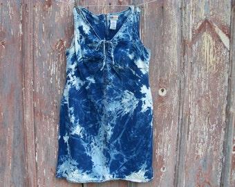 Bleach Tie Dyed Sleeveless Denim Dress in Women's Size 20W