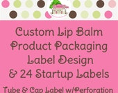 Custom Lip Balm Product Packaging Label Design and 24 Startup Printed Labels with Perforation