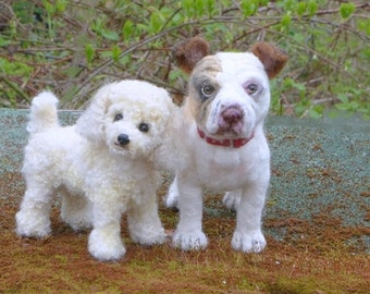 Your Pet in Miniature / Needle Felted Dog / Portrait  Sculpture by Fiber Artist GERRY / Poseable / example Poodle and Pit Bull