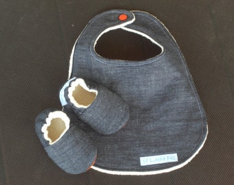 Denim, Baby Gift Set, Denim Baby Bib, Denim baby Shoes, Gender Neutral