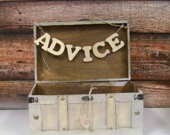 Wedding Advice Box, Card Box, Shabby Chic Wedding Decor, Shabby Chic Advice or Card Box