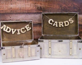 Wedding Card Box / Advice Box Wooden Set of 2, Shabby Chic Wedding Card Box,
