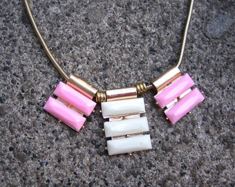 Eco-Friendly Statement Slide Necklace - Pretty in Pink - Recycled Vintage Snake Chain, Unusual Plastic Pendant Charms in Pink & Off-White