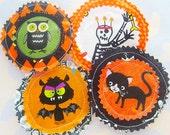 Halloween Fabric Applique Embellishments Set of Four