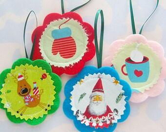 Felt and Fabric Sewn Christmas Ornament Set