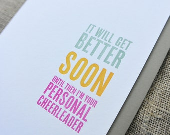 Letterpress Encouragement Card: I'll Be Your Personal Cheerleader - Thinking Out Loud series
