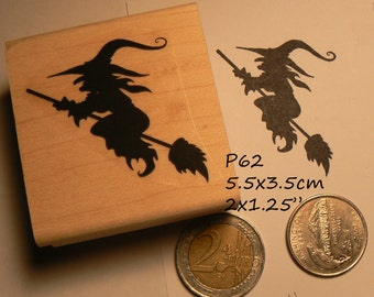 Witch on broom rubber stamp P60